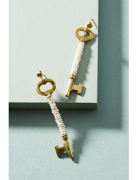 pearled-vintage-key-earrings by anthropologie