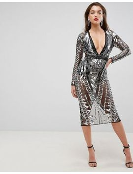 asos-edition-geo-embellished-paneled-cut-out-back-midi-dress by asos-edition