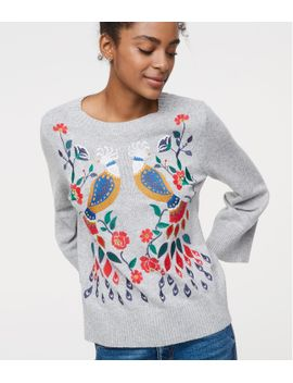 peacock-embroidered-sweater by loft