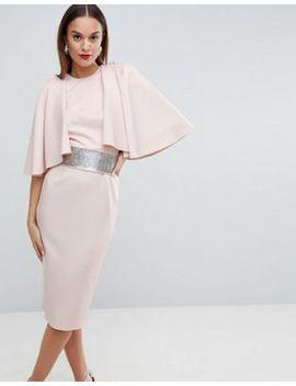 asos-edition-statement-sleeve-midi-scuba-dress-with-detachable-rhinestone-belt by asos-edition