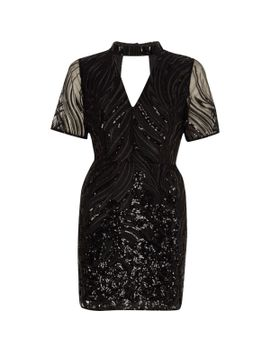 petite-black-sequin-high-neck-dress by river-island