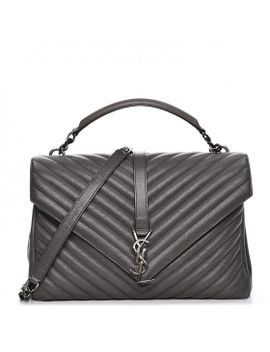 saint-laurent-sheepskin-matelasse-chevron-large-college-monogram-satchel-grey by yves-saint-laurent
