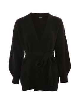 belted-ribbed-cardigan by topshop