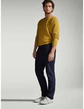 slim-fit-textured-weave-jeans-style-trousers by massimo-dutti