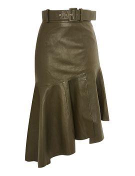 belted-asymmetric-peplum-hem-skirt by topshop