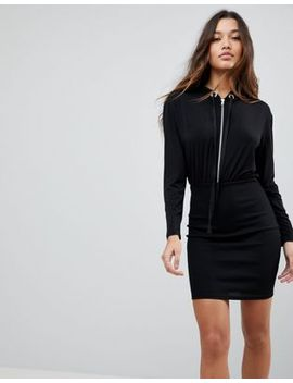 asos-bodycon-rib-mini-dress-with-slinky-hood-top by asos-collection