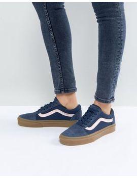 vans-old-skool-unisex-trainers-in-blue-fuzzy-suede-with-gum-sole by vans