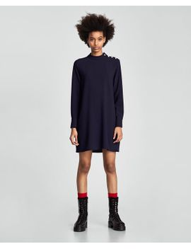 dress-with-faux-pearls-on-the-shoulder by zara