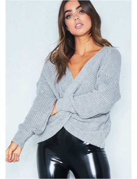 amelia-grey-twist-front-oversized-knitted-jumper by missy-empire