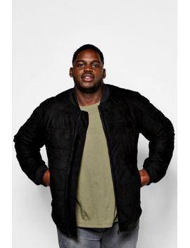 big-and-tall-quilted-faux-suede-bomber-jacket by boohoo