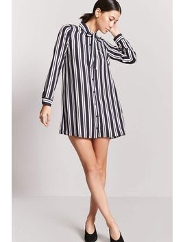 stripe-tie-neck-shirt-dress by forever-21