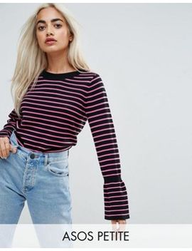 asos-petite-sweater-with-stripe-and-fluted-sleeve by asos-petite