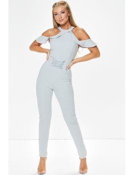 rosie-grey-frill-cold-shoulder-corset-jumpsuit by misspap