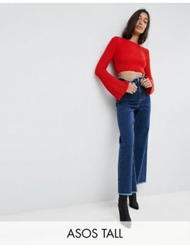 asos-tall---jean-large-avec-taille-à-bord-brut---bleu by asos-tall