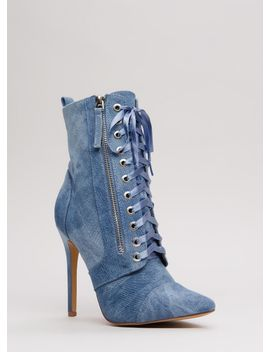 point-value-denim-lace-up-booties by gojane