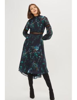 **navy-bird-print-midi-skater-dress-by-hope-&-ivy by topshop