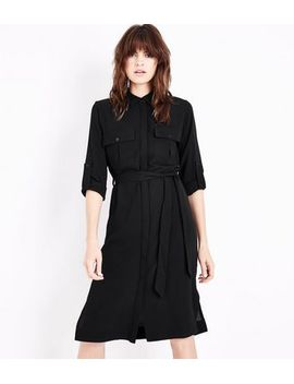 black-long-sleeve-pocket-front-shirt-dress by new-look