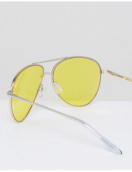 asos---occhiali-da-sole-modello-aviatore-in-metallo-argento-con-lenti-colorate-gialle-e-barra-superiore by asos