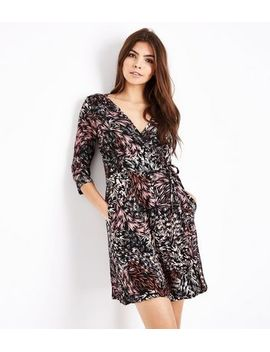 apricot-black-leaf-pattern-wrap-dress by new-look