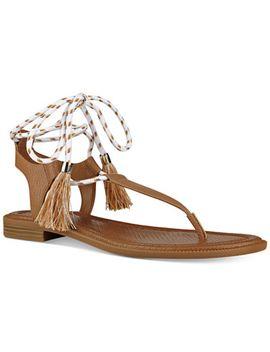 gannon-tassel-lace-up-thong-sandals by nine-west