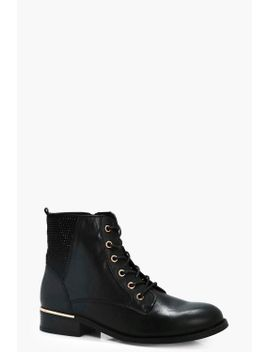 zoe-diamante-trim-lace-up-ankle-boots by boohoo