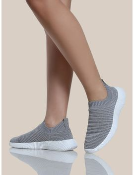 textured-knit-sneakers-light-grey by sheinside
