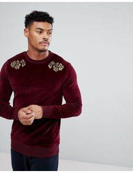 asos-muscle-sweatshirt-in-velour-with-floral-embroidery by asos