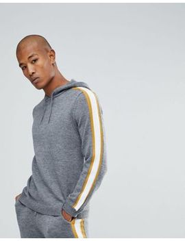 asos-knitted-co-ord-hoodie-with-side-stripe-in-grey by asos