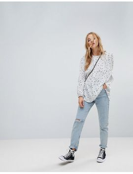 glamorous-relaxed-smock-top-in-star-and-polka-dot by glamorous