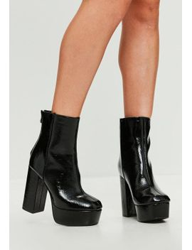 black-vinyl-platform-heeled-ankle-boots by missguided