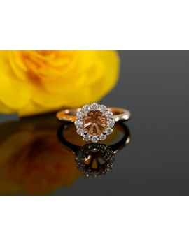 diamond-halo-engagement-ring-mounting-in-14k-rose-gold-for-6-65mm-round-center-stone-(-also-avail-in-yellow-gold,-white-gold-and-platinum) by etsy