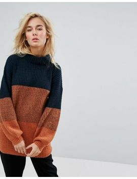 moss-copenhagen-relaxed-longline-jumper-in-colour-block by moss-copenhagen