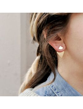 geometric-gold-ear-jackets,-minimal-silver-ear-jacket,-geometric-double-sided-earrings,-geometric-studs,-sterling-silver-ear-jacket-|-armets by etsy