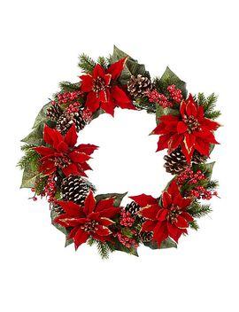 john-lewis-glittered-poinsettia-wreath,-dia55cm,-green_red by john-lewis