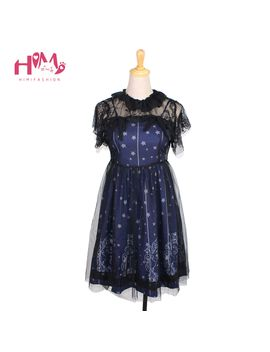 sky-constellation-gothic-lolita-dress-dress-dark-blue-jsk-veil-tunic-night-angel-pattern-short-sleeve-dresses by aliexpresscom