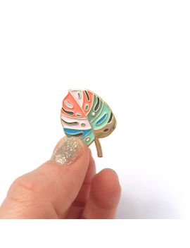 monstera-leaf-enamel-pin-(candy-colored) by etsy