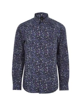 blue-floral-print-slim-fit-long-sleeve-shirt by river-island