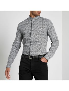 grey-paisley-print-muscle-fit-shirt by river-island
