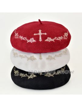 3-colors-black-white-red-with-gold-winter-women-gothic-lolita-wool-rose-cross-embroider-floral-beret-hat by ali-express