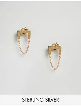 asos-gold-plated-sterling-silver-brushed-square-chain-drop-earrings by asos-collection