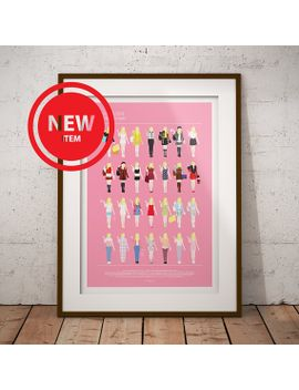 clueless-movie-poster,-cher-horowitz-and-all-her-looks,-fashion-illustration,-funny-home-decor,-minimalist-movie-poster,-fashion-gay-gift by etsy