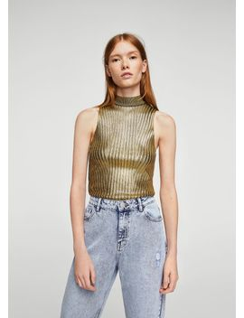 glossed-effect-ribbed-top by mango