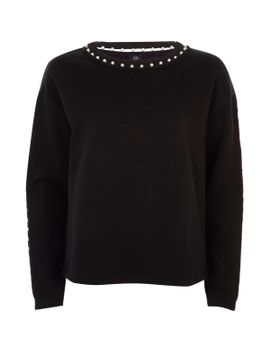 black-faux-pearl-embellished-sweatshirt by river-island