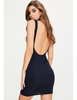 navy-ribbed-scoop-back-bodycon-dress by missguided