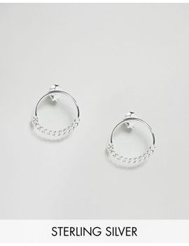 asos-sterling-silver-half-hoop-chain-stud-earrings by asos-collection