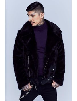 premium-oversized-faux-fur-biker-jacket by boohoo