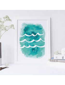 wave-aqua-turquoise-digital-download-print by etsy