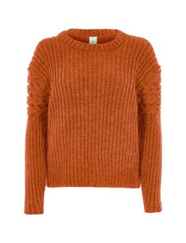 orange-chunky-cable-knit-sleeve-jumper by river-island