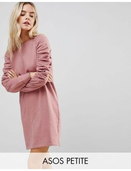 asos-petite-sweat-dress-with-ruched-arms by asos-petite