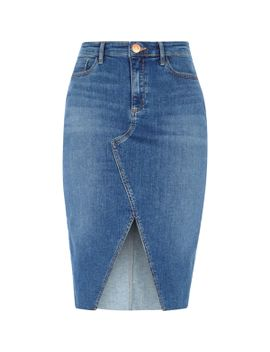 mid-blue-front-split-denim-pencil-skirt by river-island